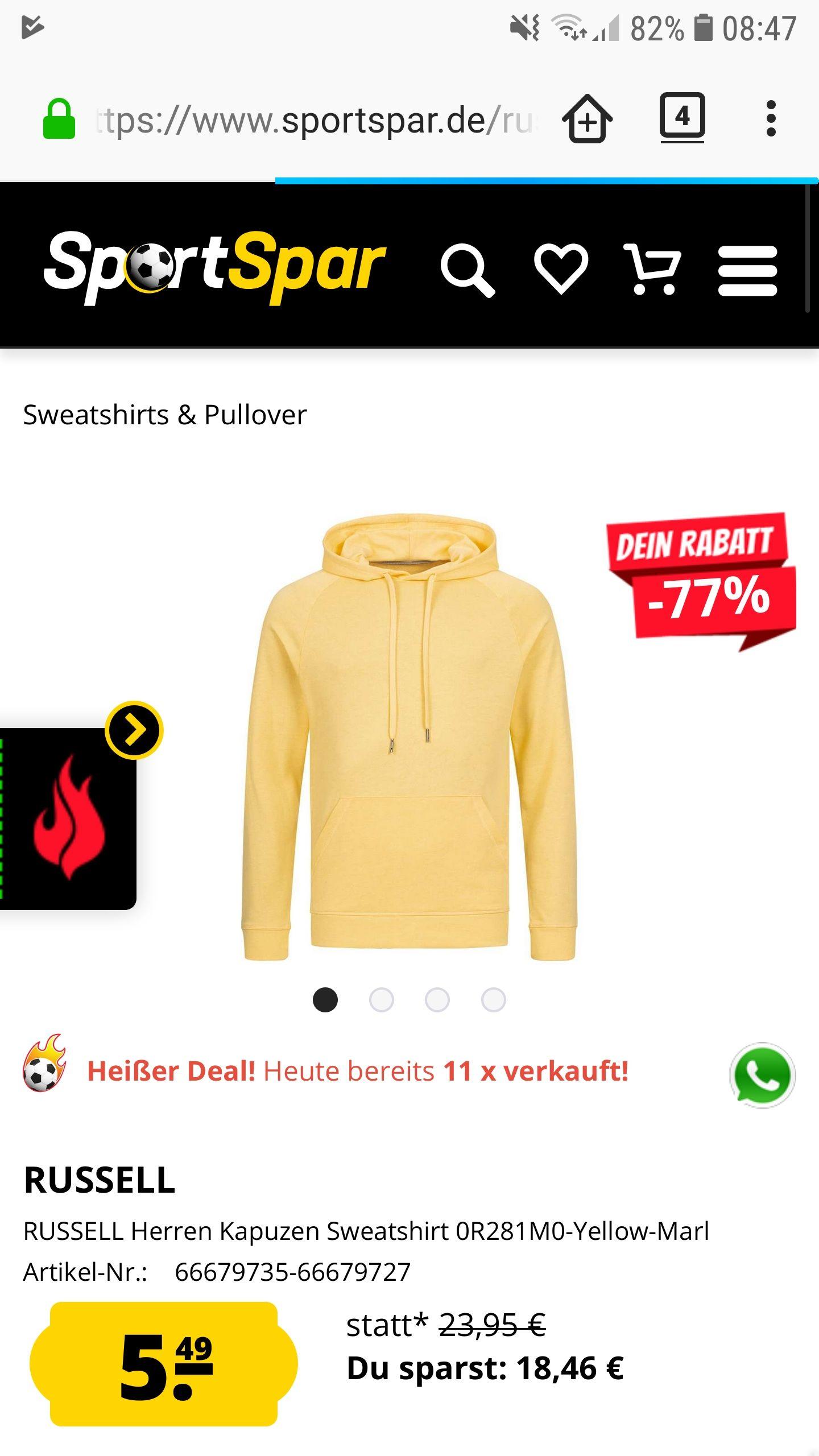 RUSSELL Herren oder Damen Kapuzen Sweatshirt