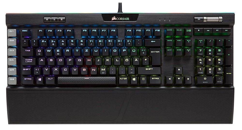 Mechanische Tastatur Corsair K95 RGB Platinum (Cherry MX Brown, Einzeltastenbeleuchtung, 6 Makrotasten, USB-Hub, Handballenauflage, Metall)