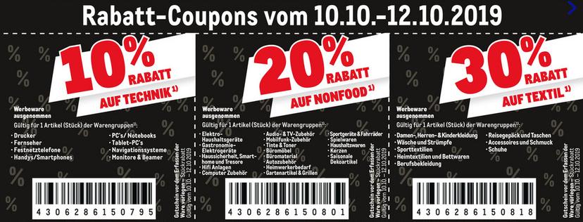 [Metro vom 10.10. - 12.10.19] 10% auf Technik - 20% auf Nonfood - 30% auf Textil (außer Werbeware)