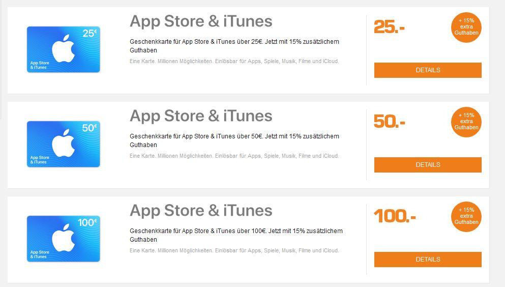 [Saturn Online] iTunes Guthaben 15% extra - 25€ , 50€, 100€ möglich bis 07.10.