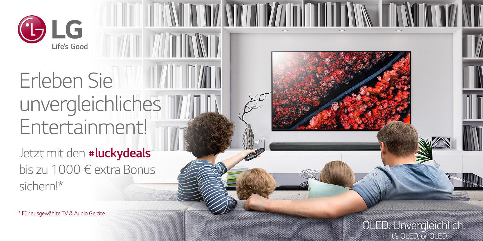 LG #Luckydeals | bis zu 1000€ extra Bonus auf OLED, Nanocell und Soundbars