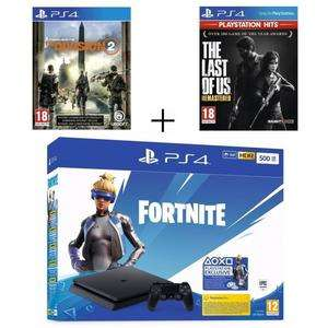 PlayStation 4 (PS4) Slim 500GB Fortnite + The Last Of Us + The Division 2 (cdiscount)
