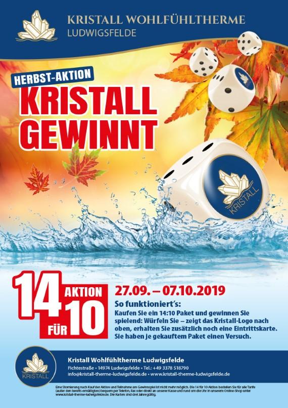 Wieder da: In der Kristalltherne in Ludwigsfelde noch bis zum 07.10.2019: 14 Eintrittskarten zum Preis von 10