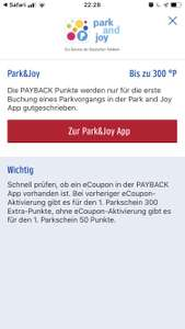 300 Payback Punkte bei Park and Joy Aktion