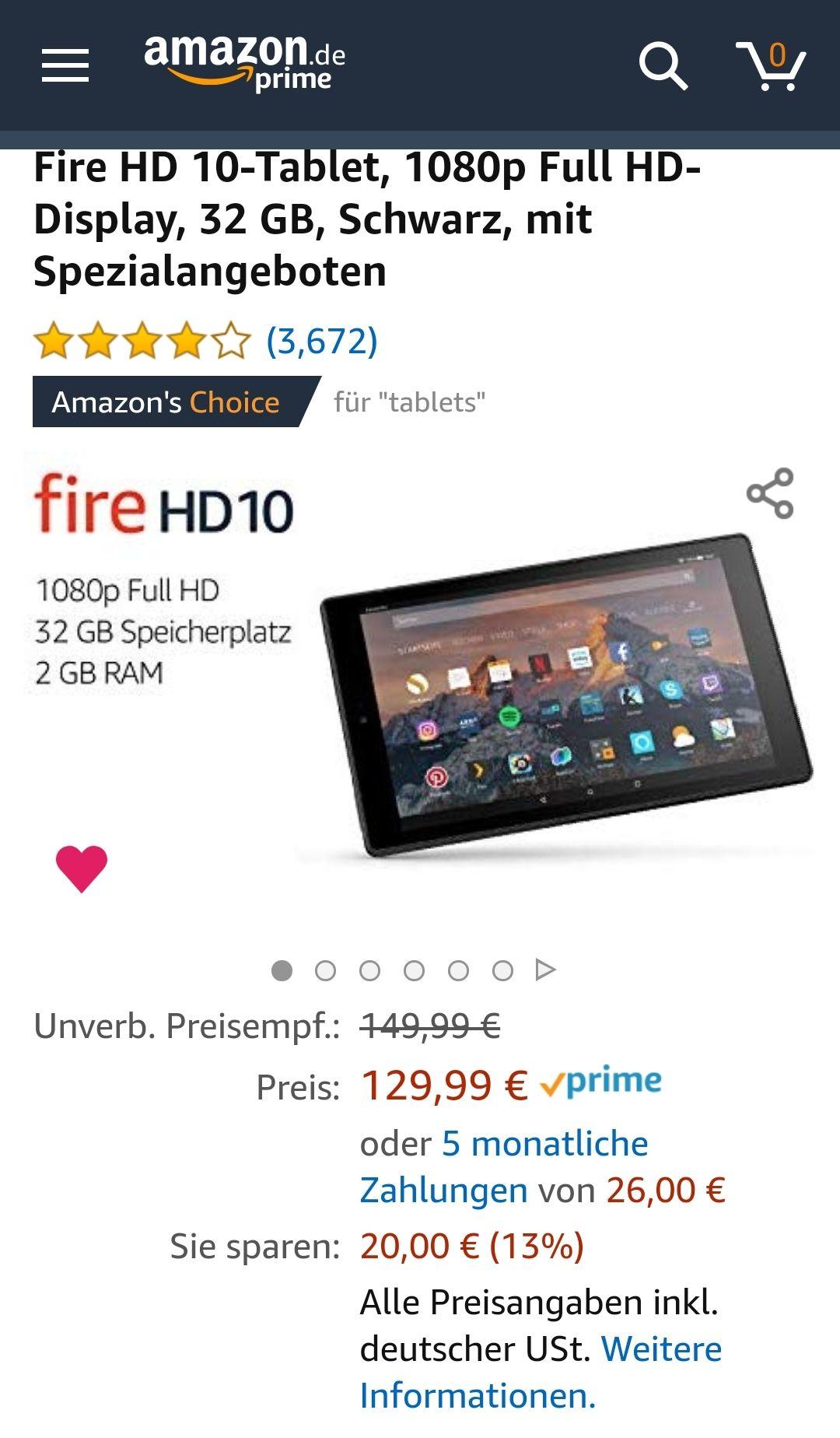 Amazone Fire tablet HD 10 mit Spezialangebote