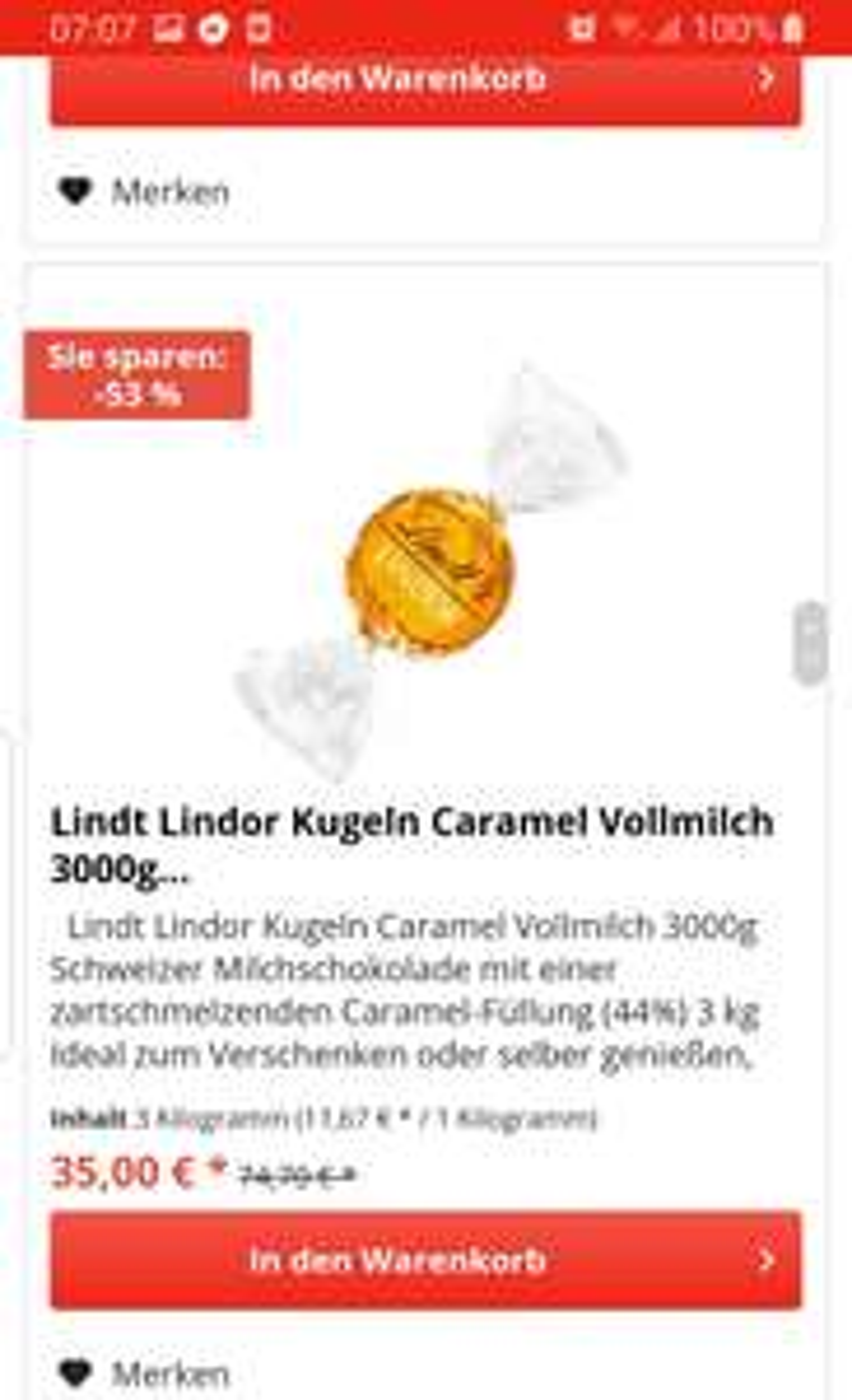 Lindt Lindor Tafeln für 11,69/kg (inkl. Versand), Karamell Kugeln für 13,66/kg