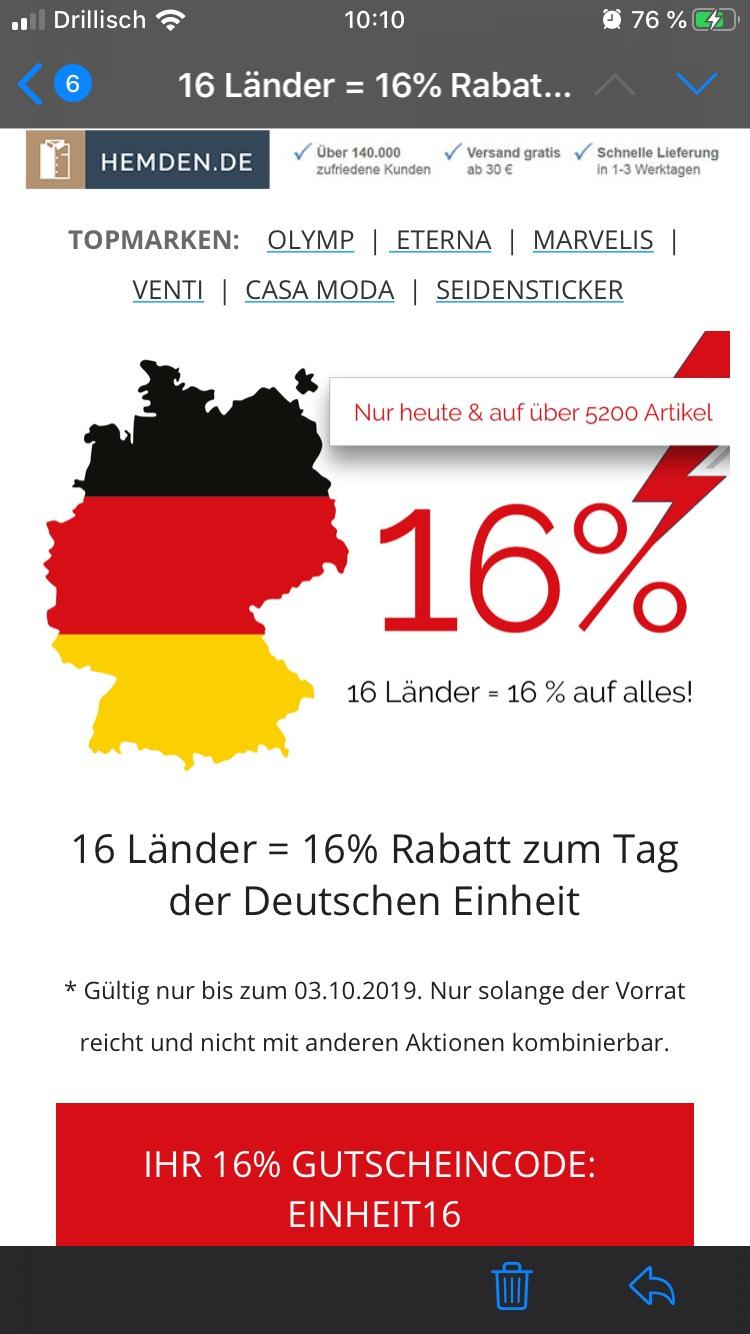16% auf Alles bei Hemden.de