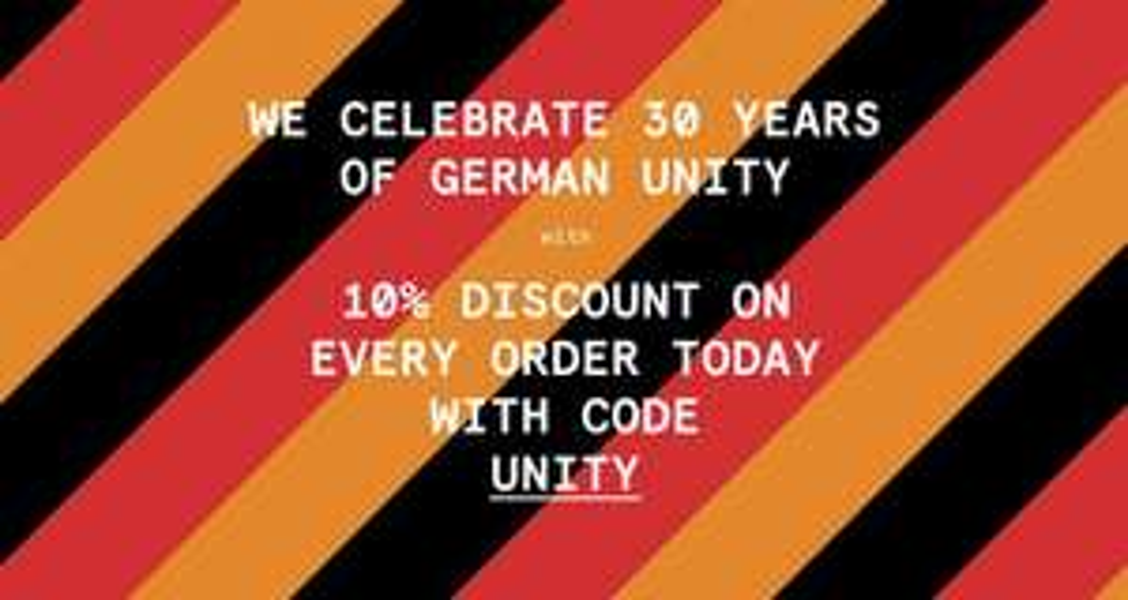 """""""30 years of german unit"""" -10% auf jede Bestellung bei uebervart, auch auf Sale inkl. Stone Island"""