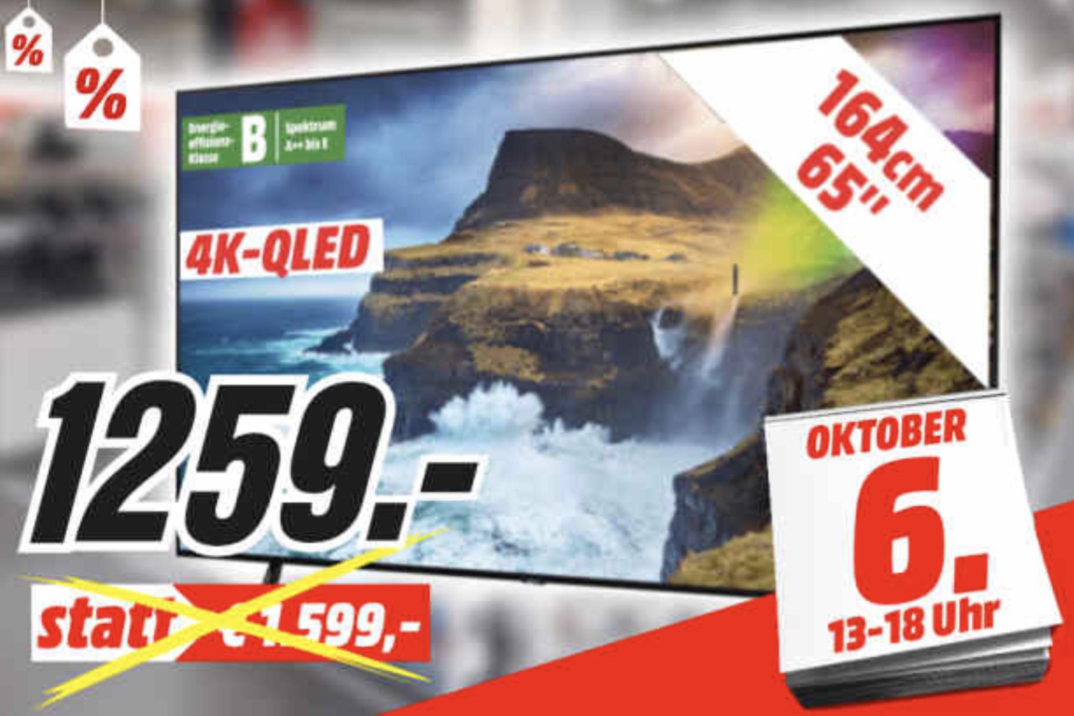 Lokal MM Gütersloh: SAMSUNG GQ65Q70RGT 164cm 4K UHD TV FALD für 1133,10€ - Clubtage Preis