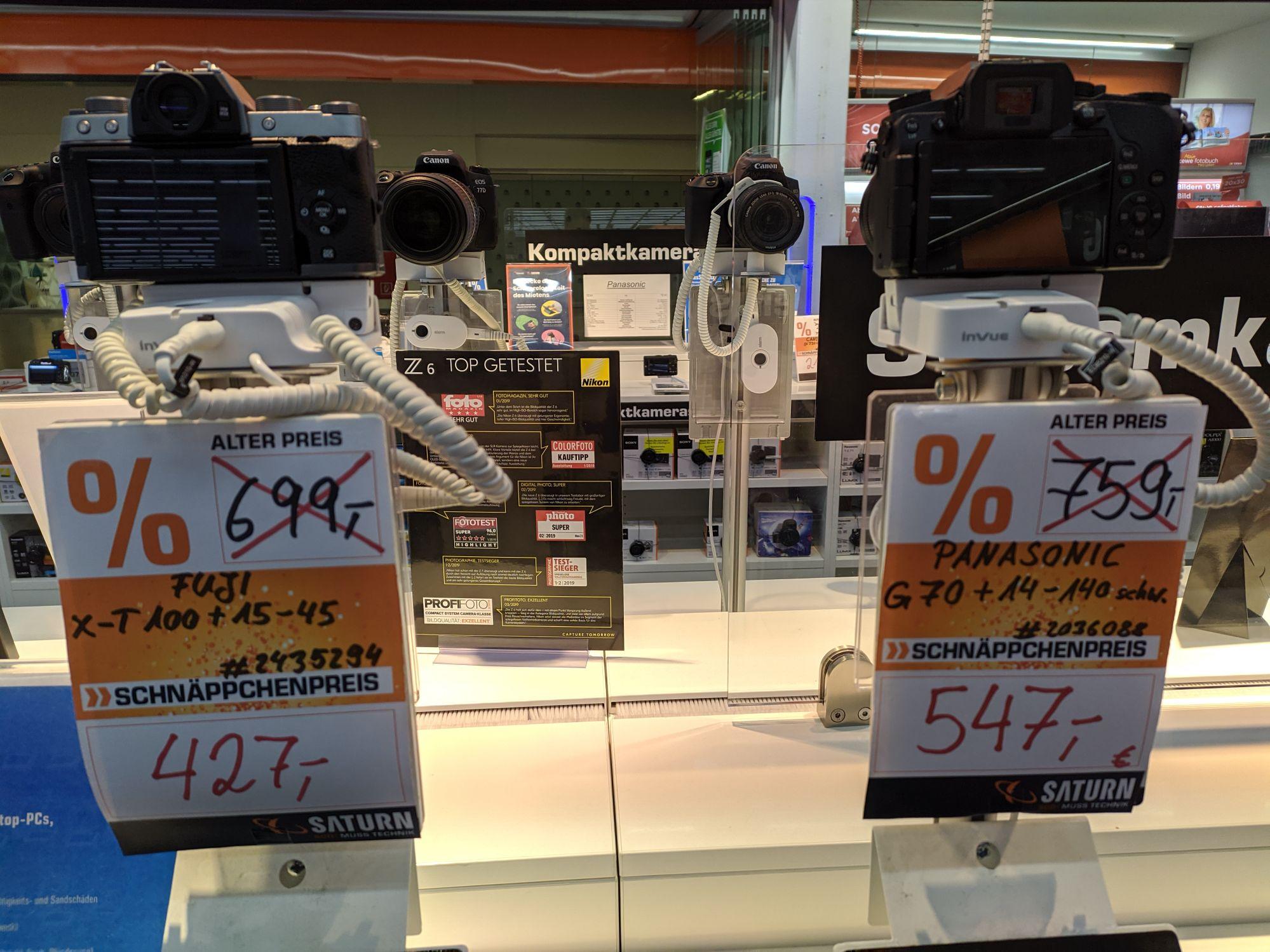 [Lokal Karlsruhe Saturn Durlach-Center] Fuji xt100 mit dem XC 15 - 45 und weitere Kameras