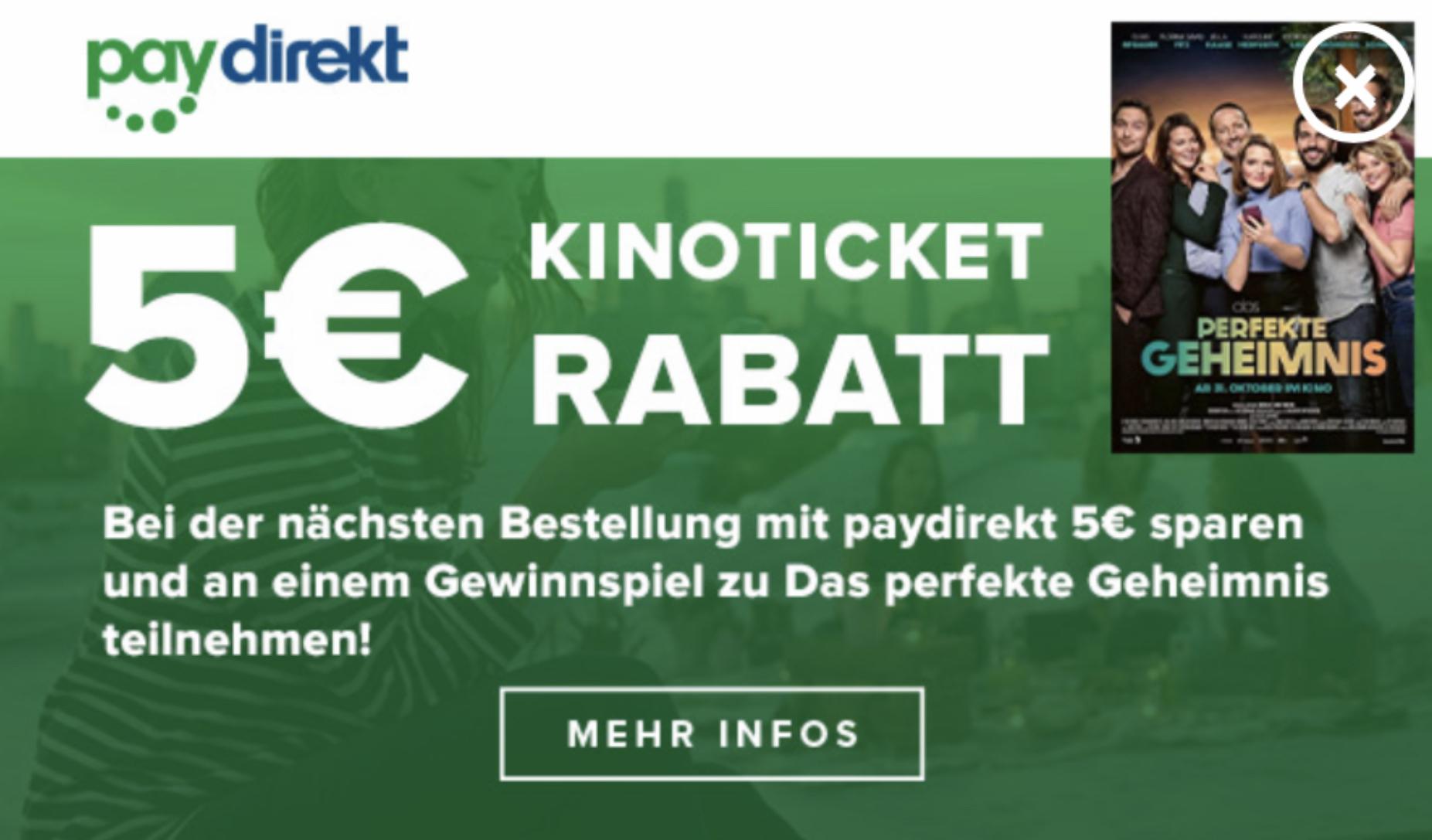 Cineplex: 5€ Gutschein bei paydirekt Zahlung