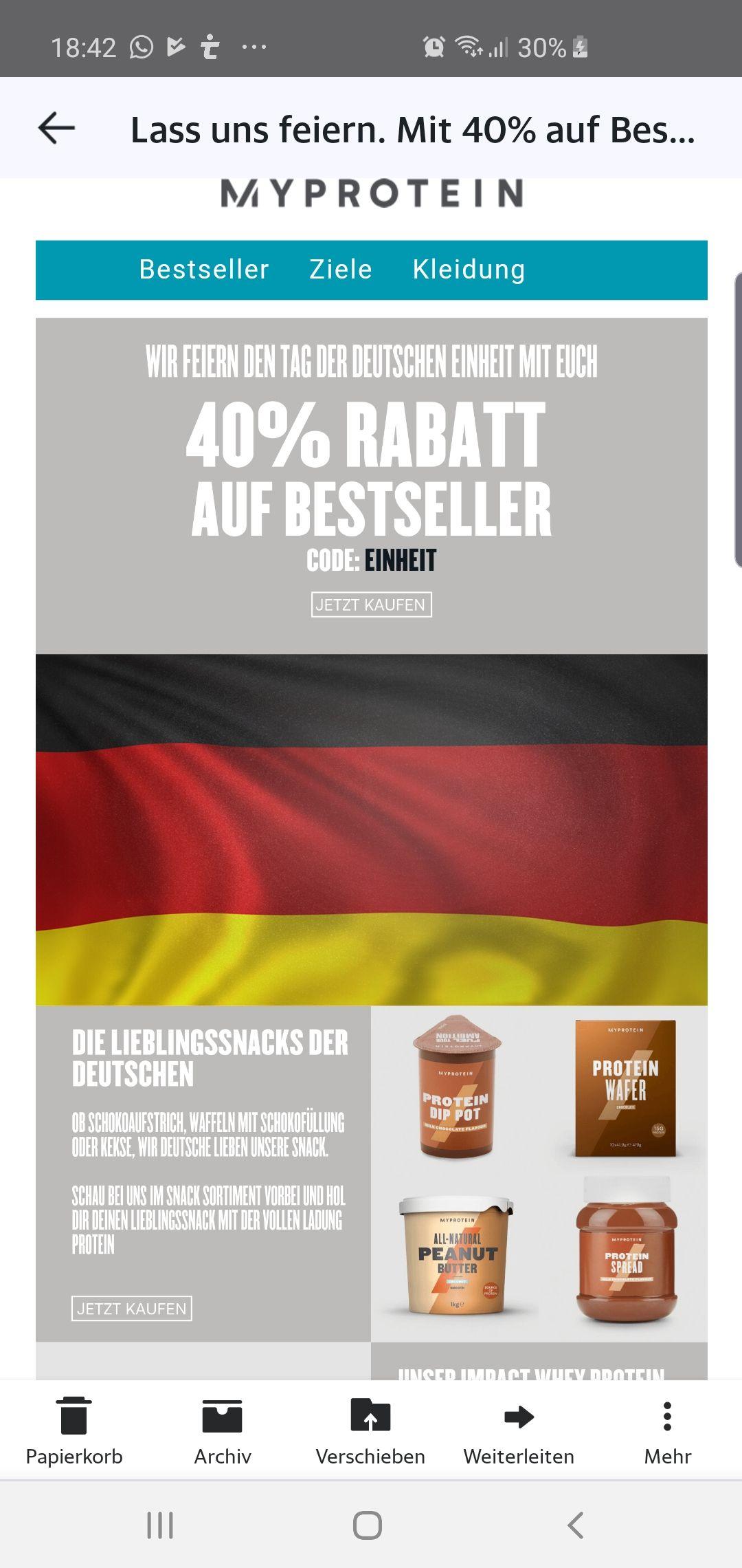 40% auf Bestseller bei Myprotein
