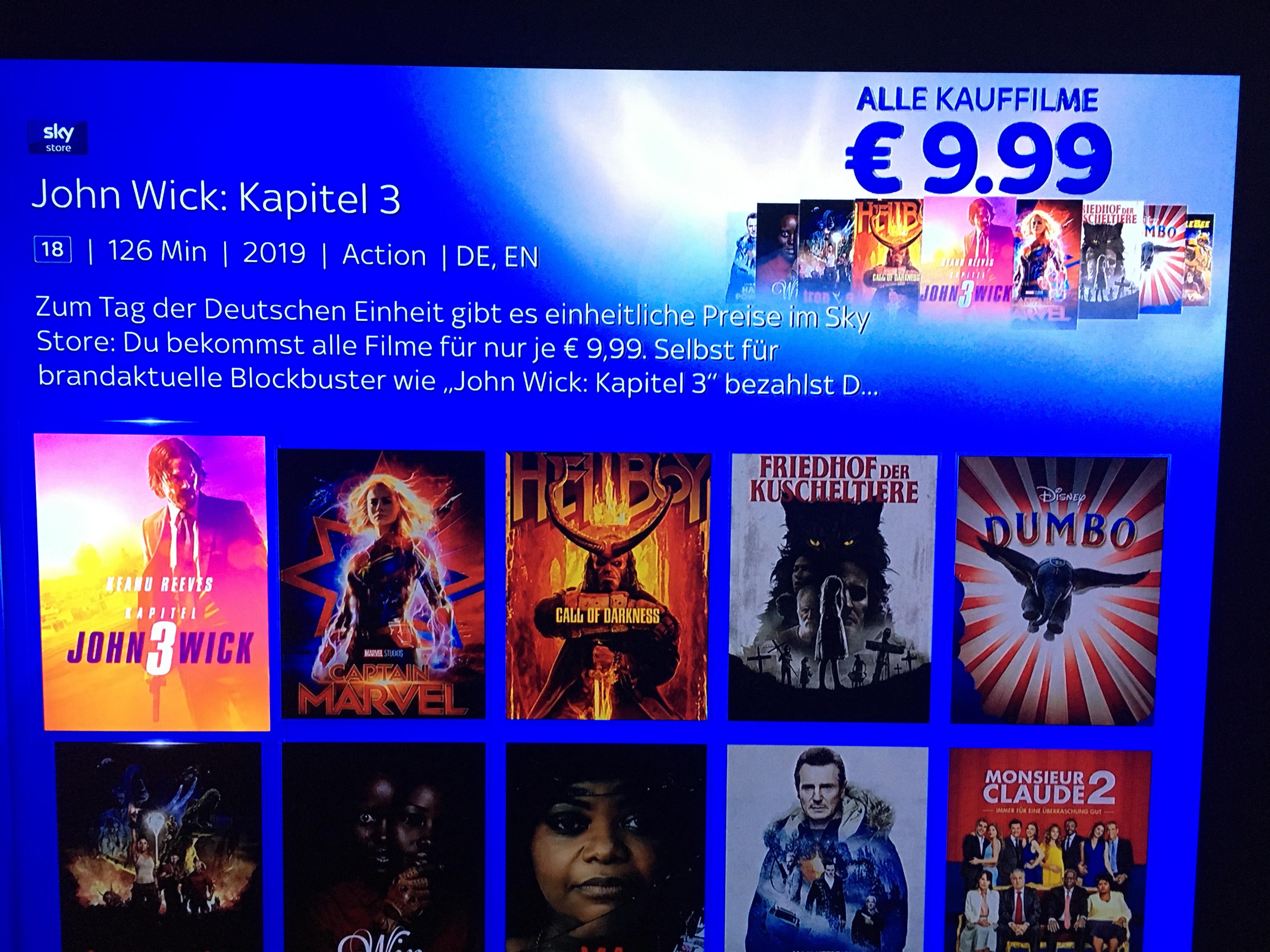 [Skykunden] alle HD-Kauffilme für 9,99 Euro digital oder für 13,99 Euro auf Blu-ray z.B. Hellboy Call of Darkness, Captain Marvel!