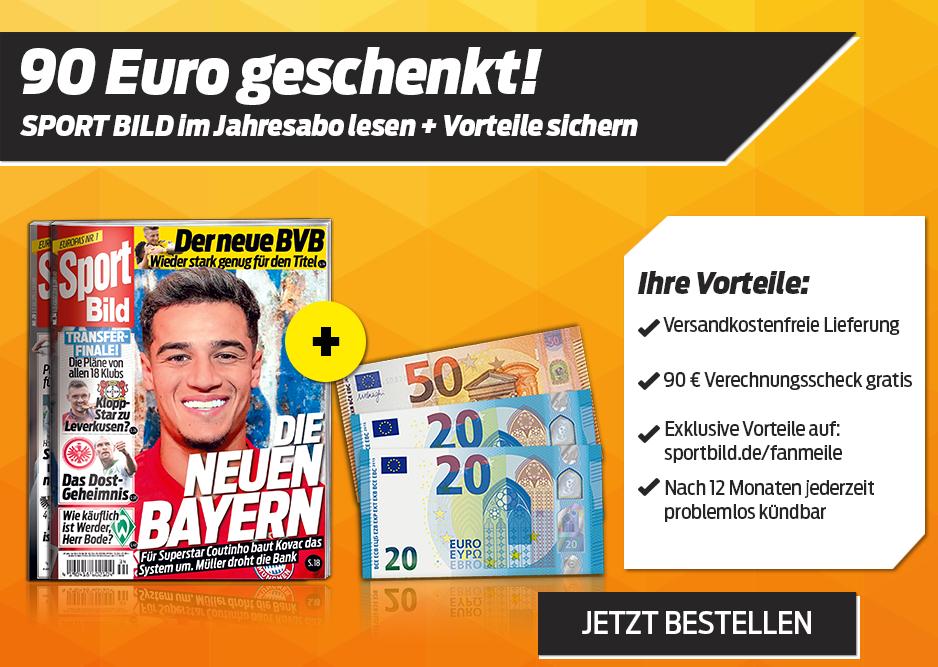 Sport Bild Jahresabo für 107,10 Euro mit 90 Euro Geldprämie