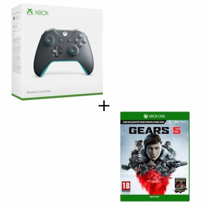 Microsoft Xbox Wireless Controller - grau/blau + Gears 5 (Xbox One) für 77.98€ (Cdiscount)
