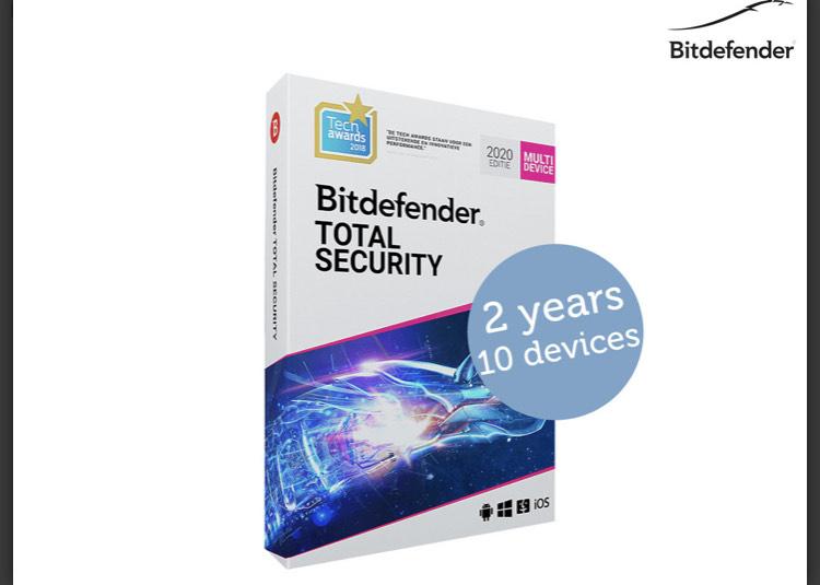 Bitdefender Total Security 2020 (2 Jahre) für 10 Geräte