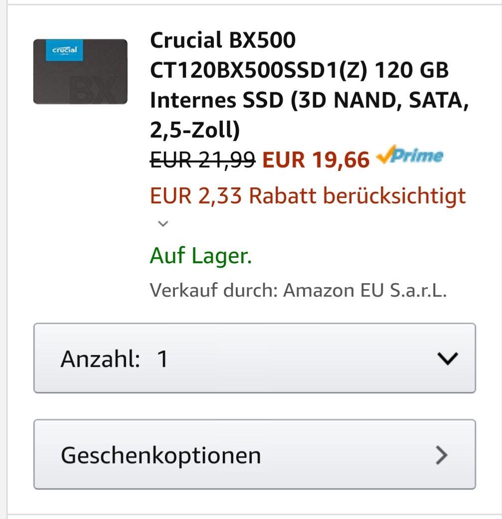 [Amazon Prime] Crucial BX500 CT120BX500SSD1(Z) 120 GB