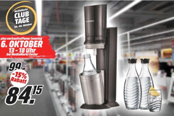 [Regional Mediamarkt Goslar] SODASTREAM Crystal 2.0 Wassersprudler inkl. 3 Glaskaraffen für 84,15€ für Clubmitglieder