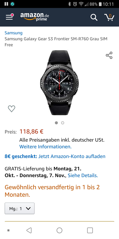 Samsung Gear S3 Frontier Smartwatch bei Amazon