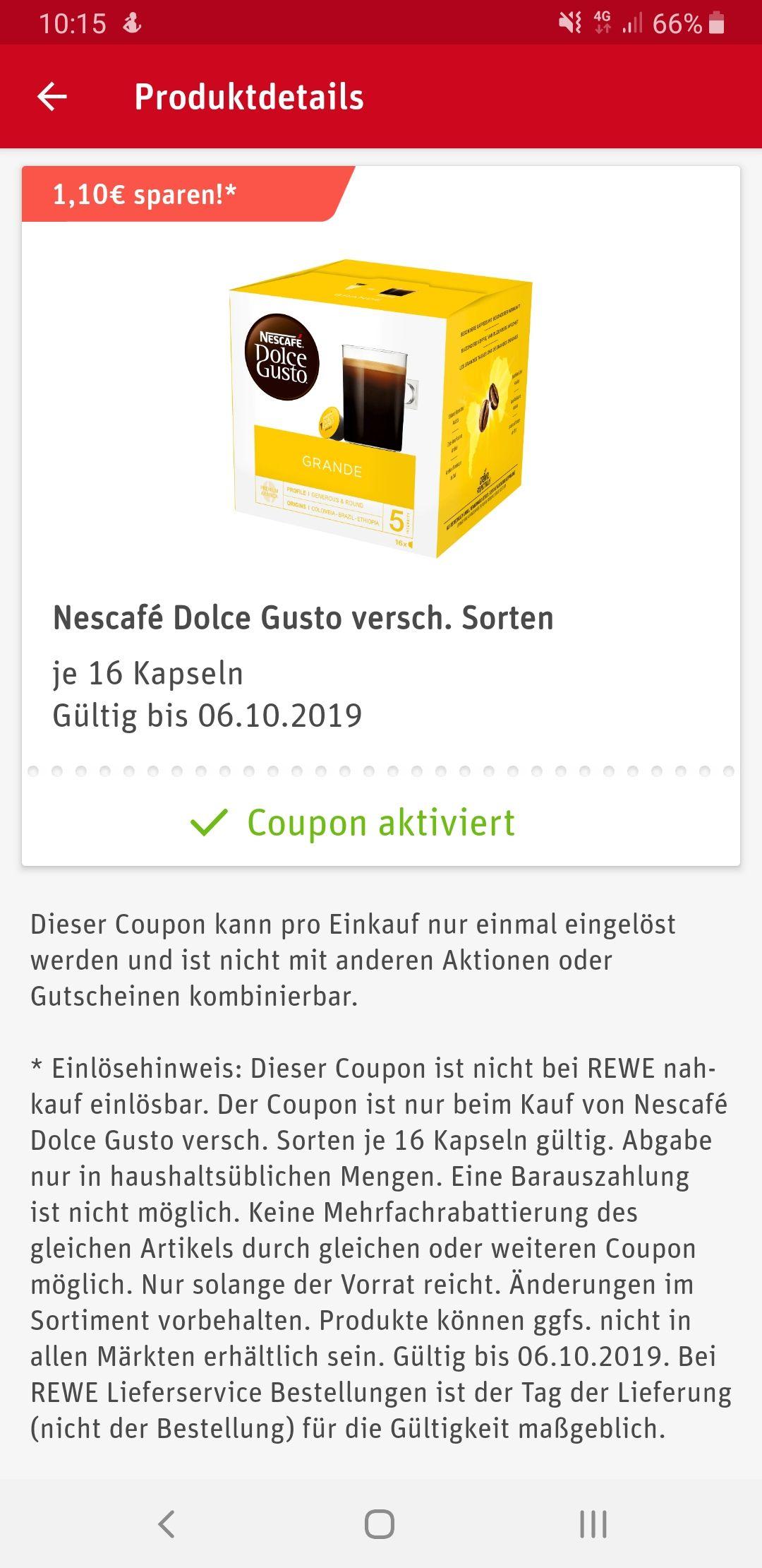 Nescafé Dolce Gusto Rewe App Rabatt-Coupon (-1.10€)