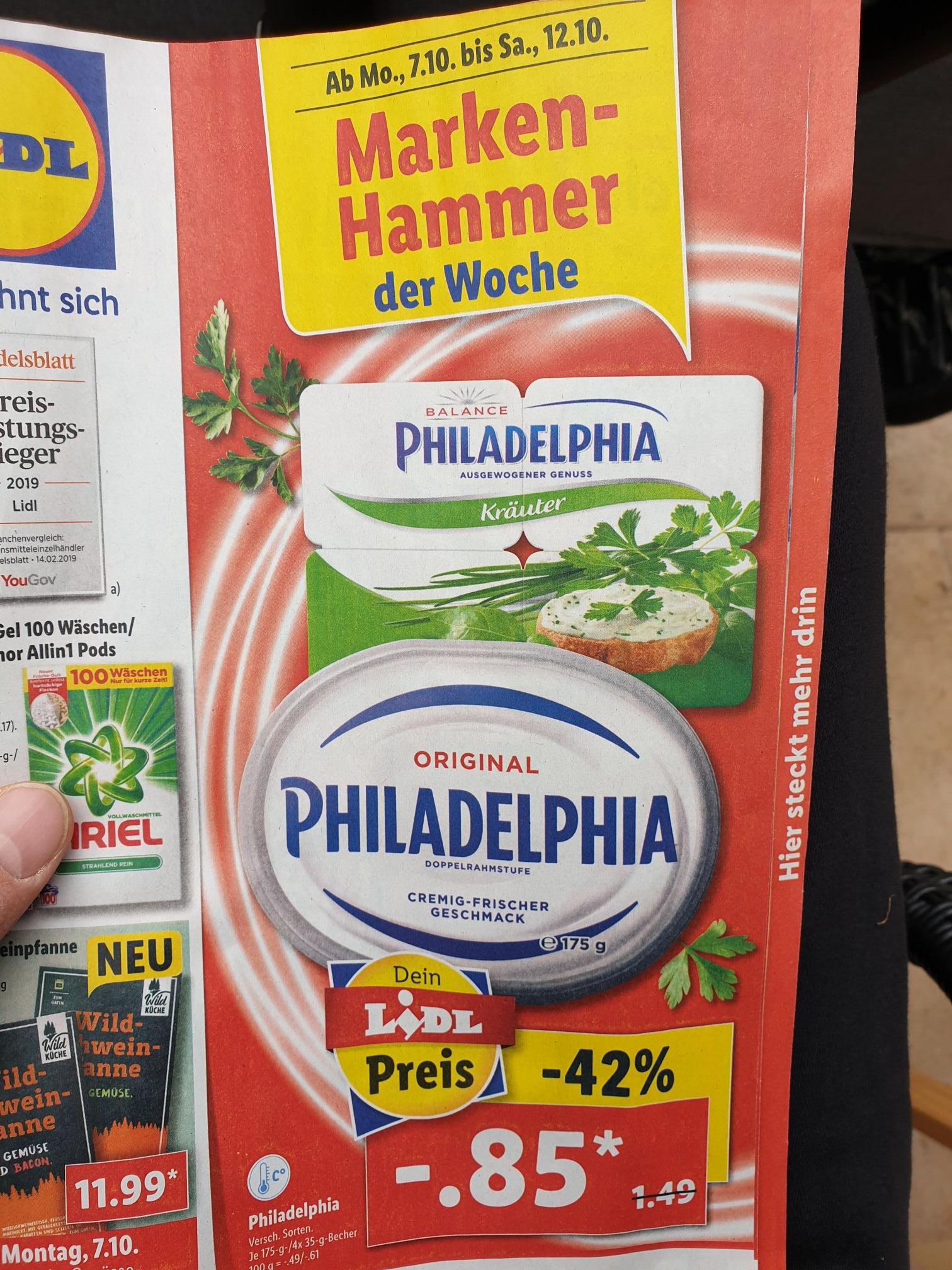 Lidl Angebot Philadelphia verschiedene Sorten