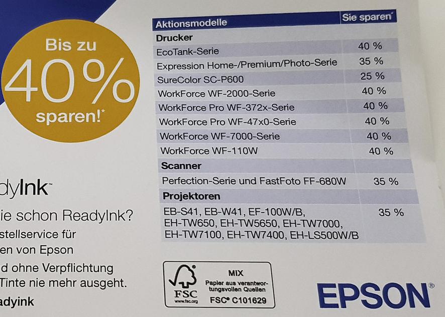 35% Rabatt auf Beamer, 40% auf Drucker bei Epson - auch für neuen Kurzdistanzbeamer