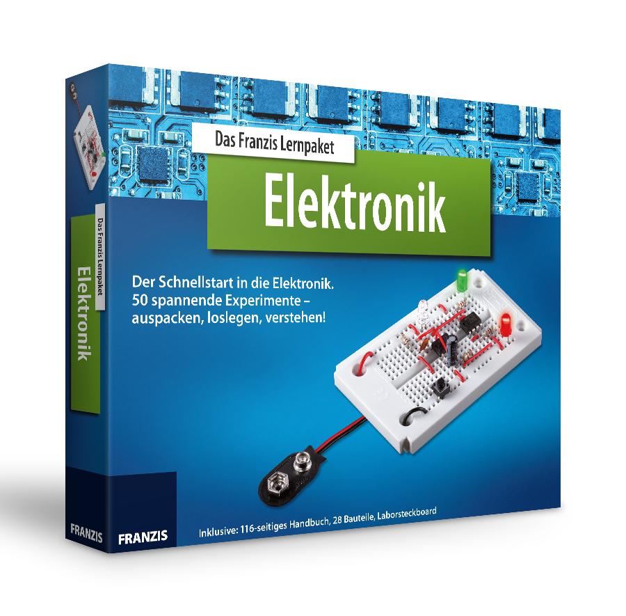 Das Franzis Lernpaket Elektronik (Laborsteckbord, 28 Bauteile, 116-seitiges Handbuch mit 50 Experimenten, empfohlen ab 14 Jahren)