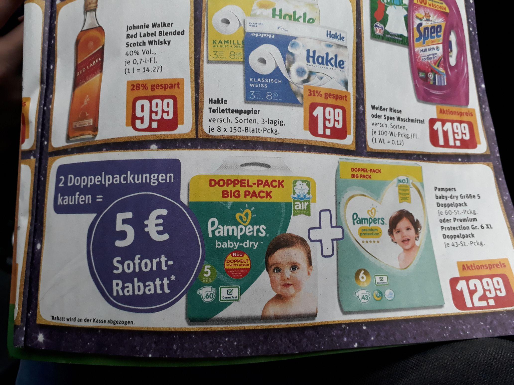 2 Doppelpackungen Pampers kaufen, 5€ Rabatt