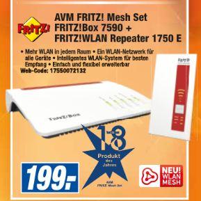 [Expert Technikmarktgruppe] AVM FRITZ! Mesh Set: FRITZ!Box 7590 + FRITZ!WLAN Repeater 1750E (Rot, Weiß) für 199,-€