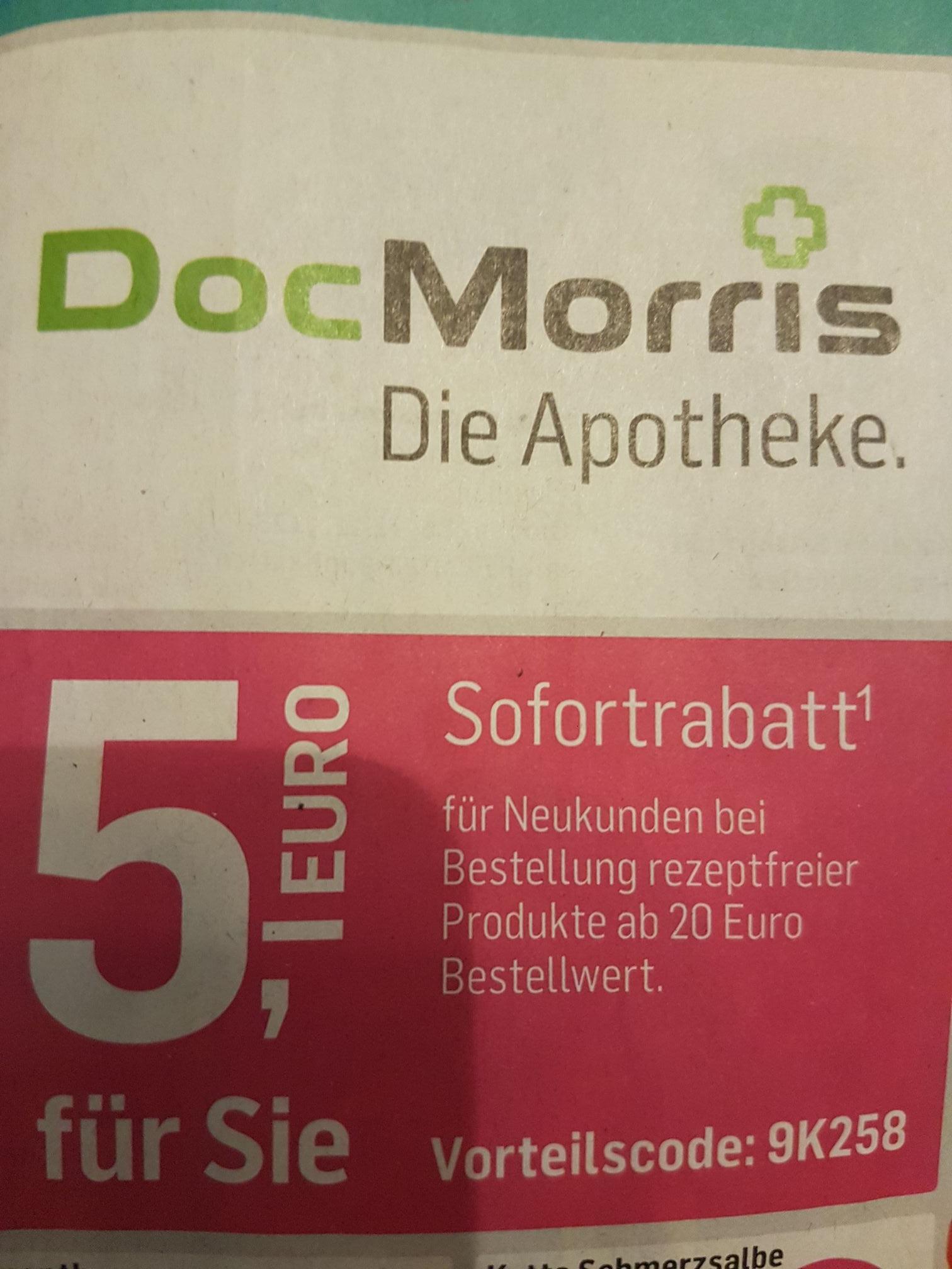 Neukundenrabatt 5€ bei DocMorris Onlineapotheke ab 20€ Bestellwert