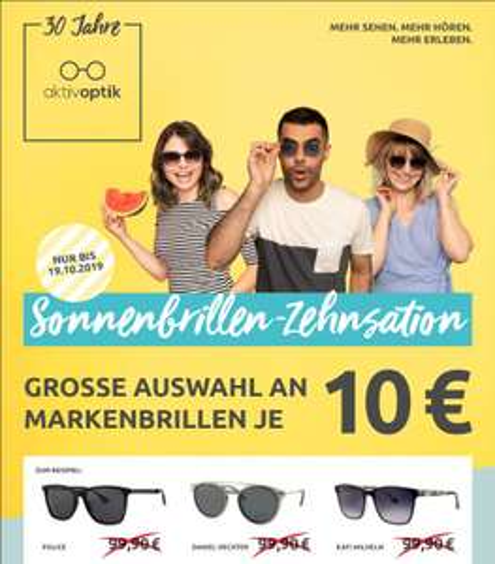 [Offline-Aktivoptik-70 Filialen] Verschiedene Sonnenbrillen von zb...Police / Daniel Hechter usw. für nur 10,-€
