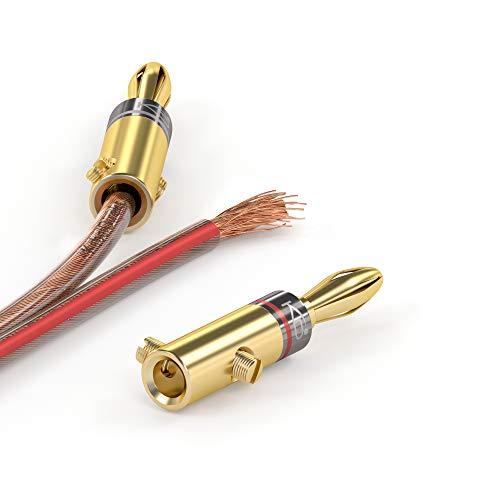 KabelDirekt - Bananenstecker - 10 Paare - (Steckverbinder für Lautsprecherkabel bis 6mm², flexibler Anschluss der Kabel