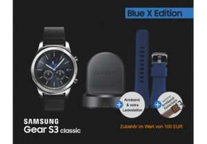 SAMSUNG Gear S3 classic Blue X Edition, Smartwatch, Echtleder, Small: 110 mm | Large: 130 mm, Silver