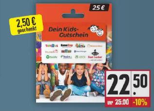 [Edeka / E Center Nordbayern/Südbayern lokal] 10% auf Dein Kids Gutschein 25€