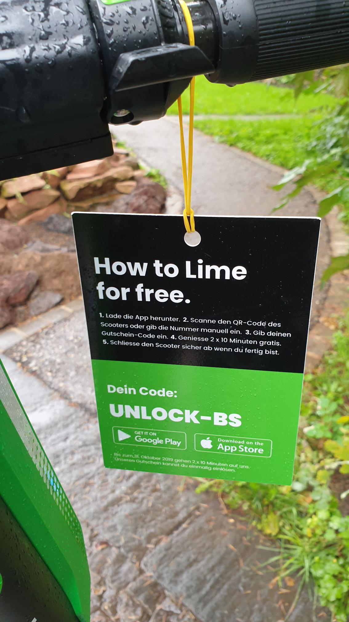 [lokal Basel & FakeGPS] Scooter Lime 2 Freifahrten (je 10 Minuten)