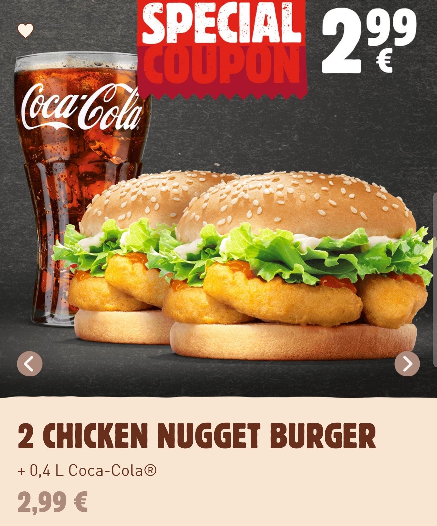 2x Chicken Nugget Burger + 0,4L Getränk für 2,99€, Cripsy Chicken Menü für 3,99€ o. Cheesburger für 1€ (Burger King)