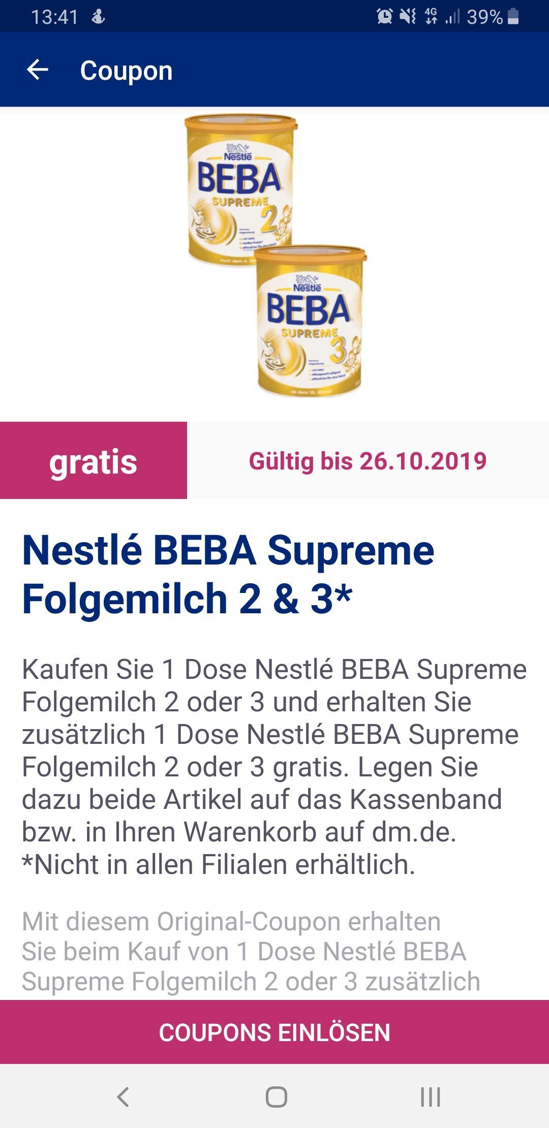 Nestlé BEBA Supreme Folgemilch 2 oder 3 (Kaufe 1 - erhalte 2) mit einem Coupon aus der App oder Kindermilch 1 oder 2