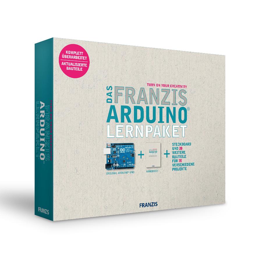 Das Franzis Arduino Lernpaket (inkl. Arduino UNO, Software, Steckbrett mit 20 Bauteilen & 300-seitigem Handbuch mit 70 Projekten)