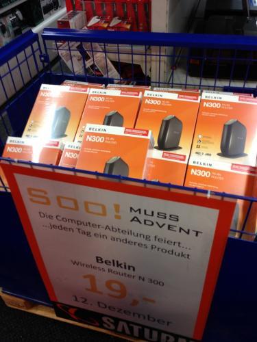 [Lokal München] Saturn - Belkin N300 Wireless-LAN Router 19 Euro - nur am 12.12