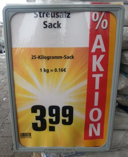 [Lokal?] 25kg Streusalz für 3,99 bei REWE Volkmarsen
