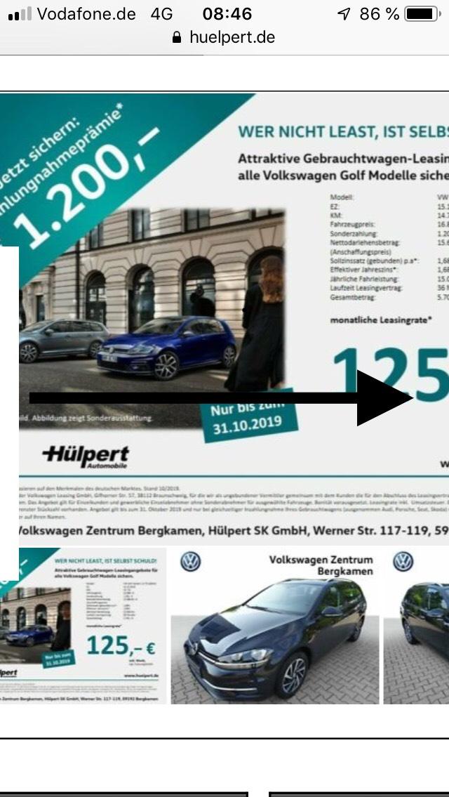 Hülpert - Privatkunden VW Golf Sonderleasing
