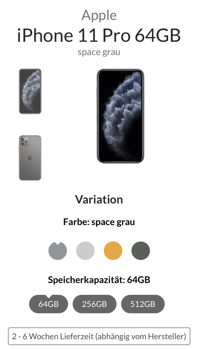Apple iPhone 11 Pro 64GB mit Vertrag / knapp 7€ pro Monat mit 14GB