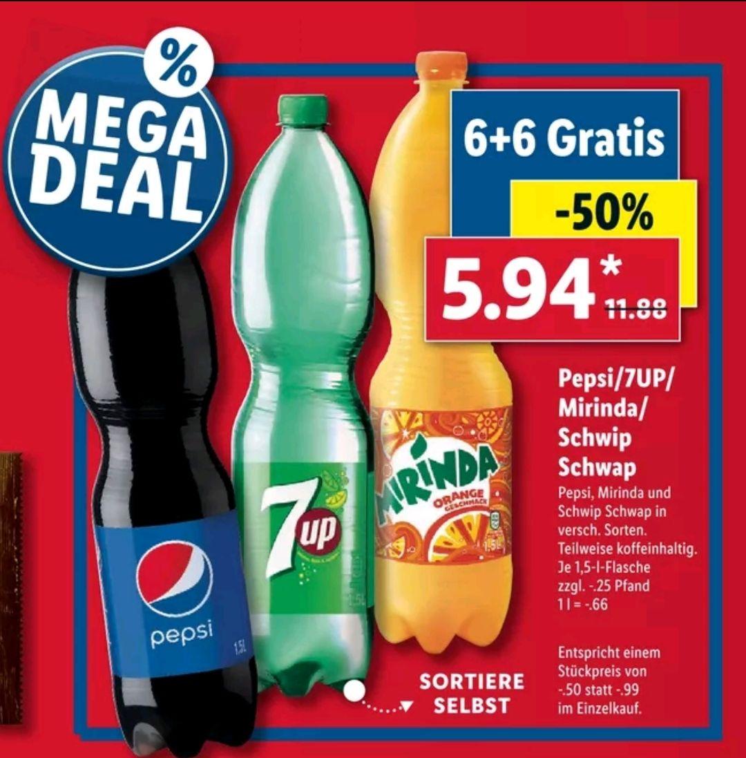 [LIDL] Ab 14.10 12x Pepsi/7Up/Mirinda/Schwip Schwap 1.5L Flaschen für 5.94€ (Stk 0.50€)