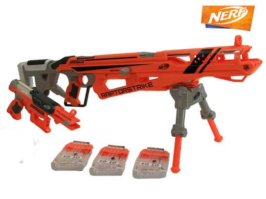 Nerf Elite Precision Strike-Set (Raptorstrike und Falconfire-Blaster, Mit Stativ + Klappvisier, Inkl. 36 Pfeile + 3 Magazine) [iBOOD]