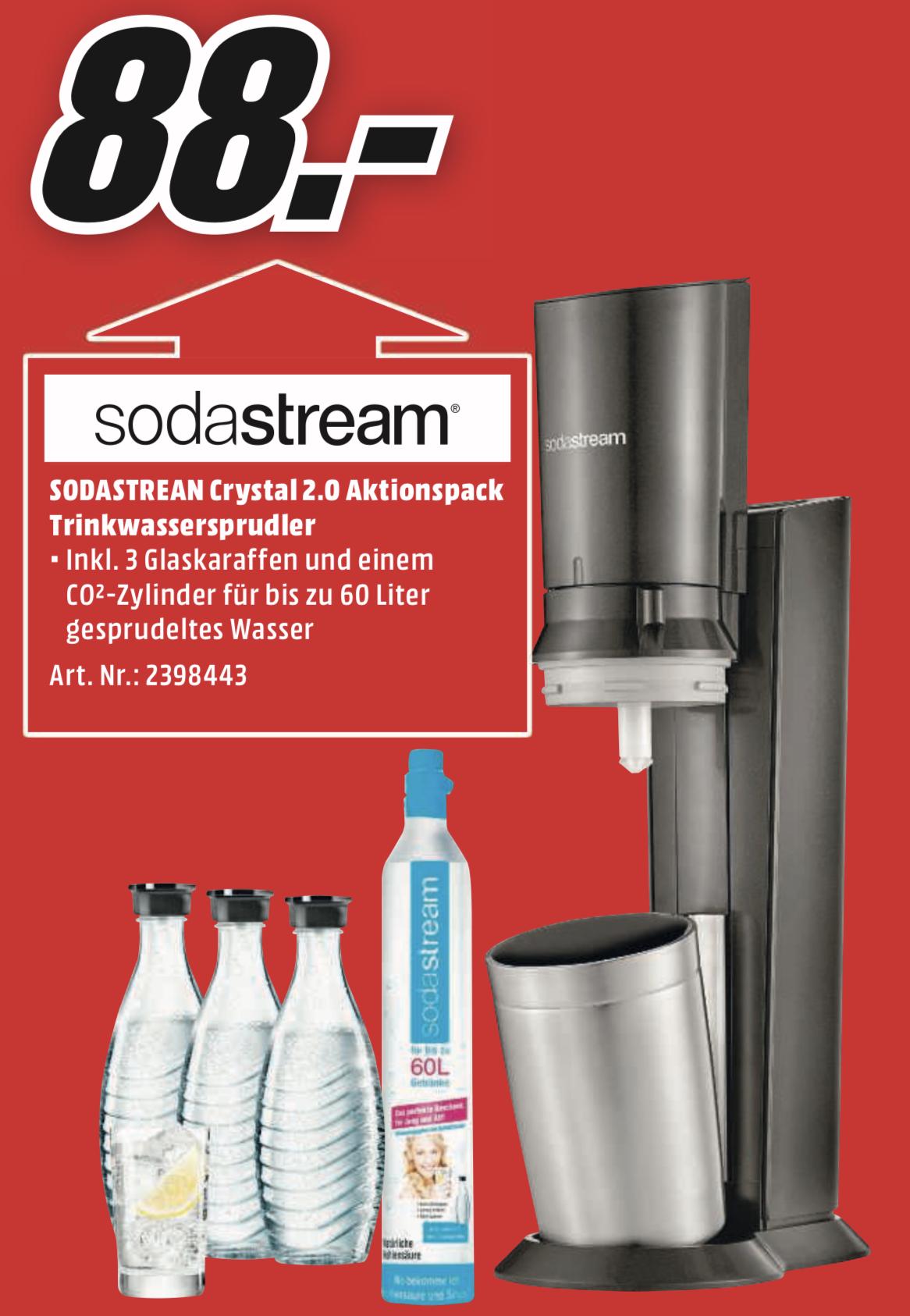 Lokal MM Konstanz: SODASTREAM Crystal 2.0 Wassersprudler inkl. 3 Glaskaraffen für 88€ - nur am Sonntag