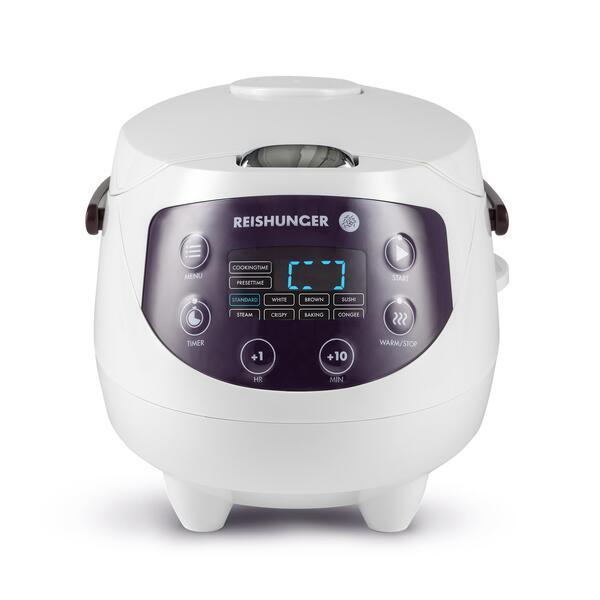 Reishunger Digitaler Mini-Reiskocher (350W, 0.6l für 1-3 Portionen, 8 Programme inkl. Backen, Timer- und Warmhaltefunktion)