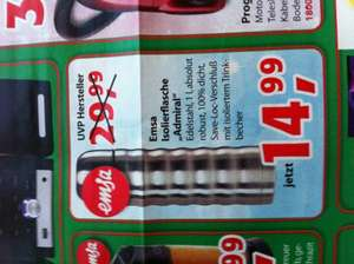 EMSA Thermosflasche 1Liter 14,99€ (lokal,Bayern)