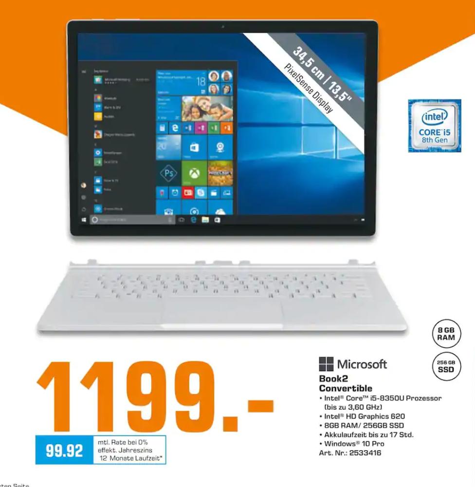 """[Saturn Hamburg] Surface Book 2, 13.5"""" 3000x2000, Core i5-8350U 4x1,7GHz, 8GB RAM, 256GB SSD"""