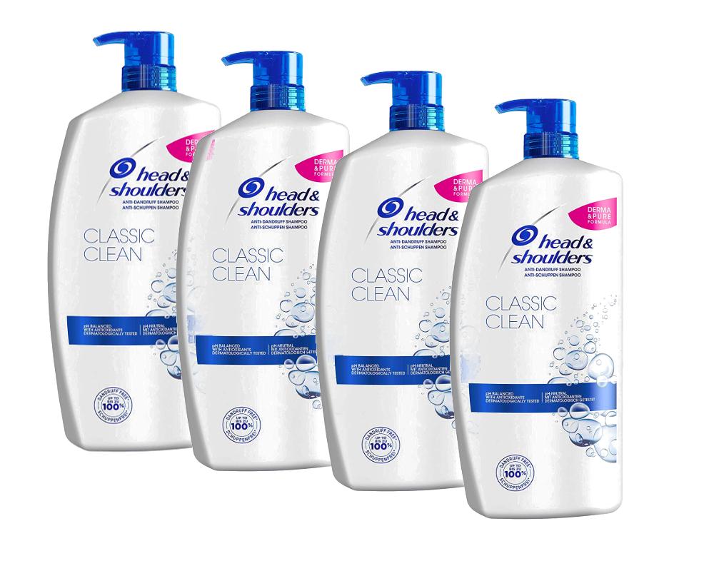 4 x Head & Shoulders Classic Clean Anti-Schuppen Shampoo, 900ml Vorratspack Set