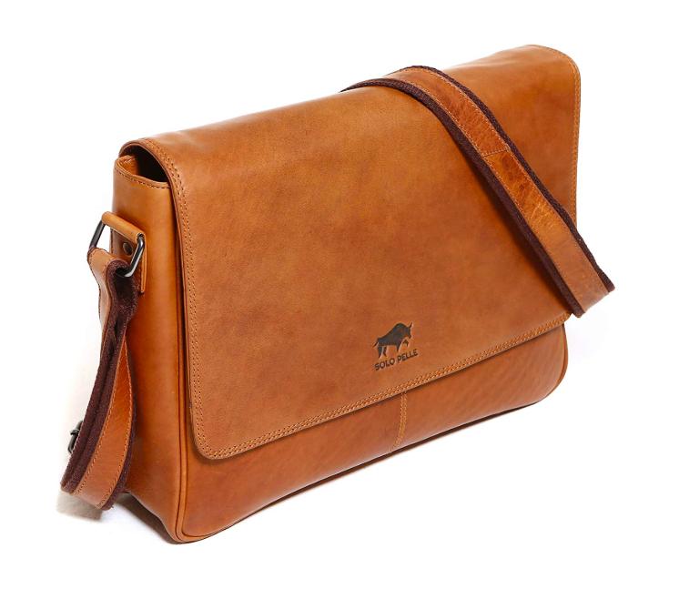 Solo Pelle Tasche Umhängetasche echtes Leder (geeignet für 15,6 Zoll und 17 Zoll) Laptop Tasche Messenger Bag